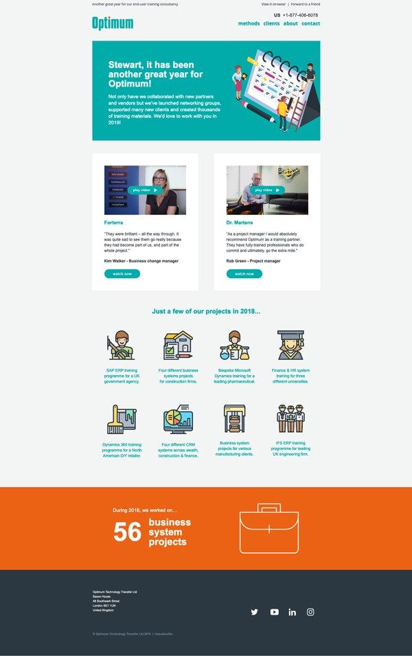 Sample screen of Optimum email marketing 2